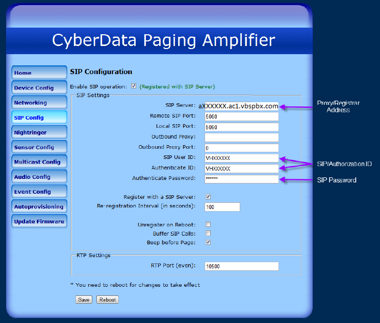 Vonage Business Cloud | Answer | Cyberdata IP V2 Paging